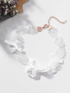 Lace Bowknot Design Clavicle Necklace - White