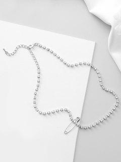 Safety Pin Design Rhinestone Chocker Necklace - Silver