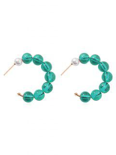 Artificial Pearl Beaded Hoop Design Earrings - Dark Turquoise