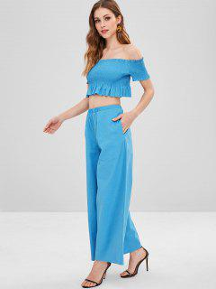 ZAFUL Smocked Crop Top And Loose Pants Set - Deep Sky Blue L