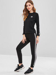 Side Striped Graphic Top And Pants Set - Black S