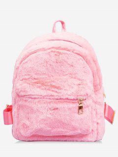 Plush Leather Design Student Backpack - Pink