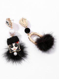 Asymmetry Artificial Pearl And Rhinestone Fluffy Earrings - Black