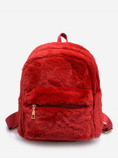 Plush Leather Design Student Backpack - Red
