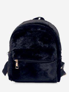 Plush Leather Design Student Backpack - Black