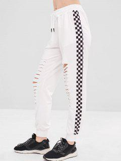 Checkered Ripped Jogger Pants - White S