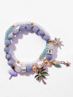 Layered Beaded Rhinestone Star Pattern Bracelet - Powder Blue