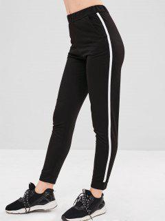 Pantalones De Talle Alto A Rayas Laterales - Negro L