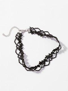Lace Flower Pattern Hollow Choker Necklace - Black