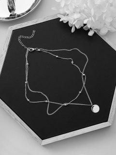 Layered Circle Shape Beaded Necklace - Silver
