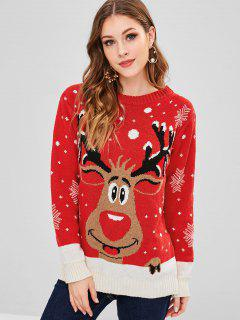Elk Snowflake Graphic Christmas Sweater - Red L