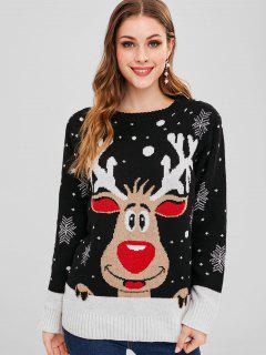 Elk Snowflake Graphic Christmas Sweater - Black M