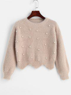 Scallop Beaded Fuzzy Sweater - Apricot