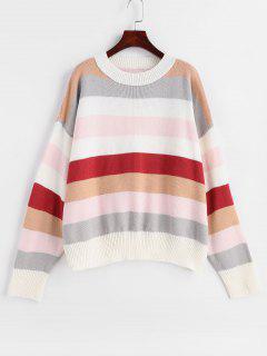 Striped Multicolored Oversized Sweater - Multi