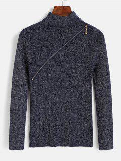 Pull Zippé Maigre En Tricot à Paillette - Bleu De Minuit