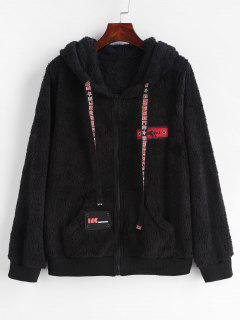 Fluffy Patched Zip Up Fleece Hoodie - Black M