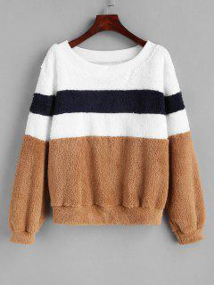 Boat Neck Striped Faux Fur Sweatshirt - Multi S