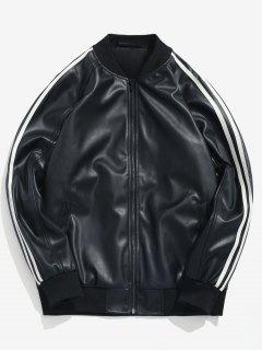 Side Stripe PU Leather Bomber Jacket - Black M