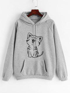 Cat Graphic Pouch Pocket Fleece Hoodie - Light Gray L