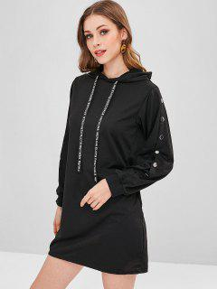 Buttoned Sleeves Shift Hoodie Dress - Black M