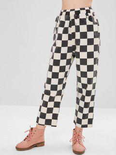 Pantalon Large à Carreaux Et Taille Haute - Multi