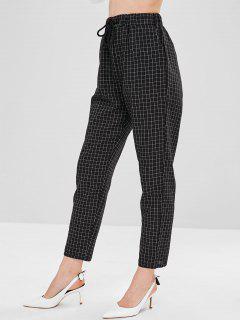 High Waist Checkered Drawstring Pants - Black M