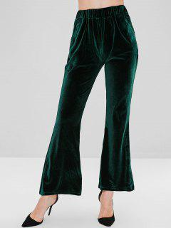 Plain Velvet Flare Pants - Deep Green M