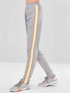 Pantalones De Cintura Alta A Rayas Laterales - Gris Claro M