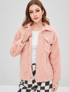 Plain Snap Button Faux Fur Coat - Orange Pink L