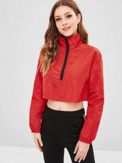 High Neck Plain Crop Sweatshirt - Red M