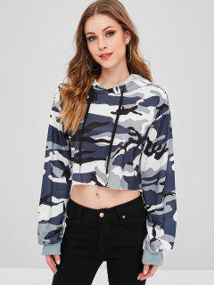 ZAFUL Camouflage Cropped Hoodie - Mist Blue M