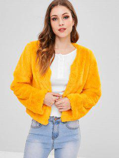 ZAFUL V Neck Plain Faux Fur Coat - Bright Yellow S