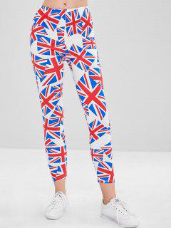 Union Jack Printed Tights Leggings - Multi