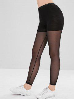 Sheer Mesh Paneled Tights Leggings - Black