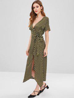 Polka Dot Plunging Slit Dress - Fern Green L