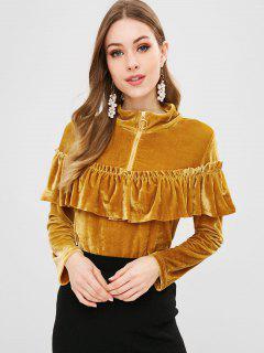 Velvet Ruffle Quarter Zipper Sweatshirt - Orange Gold Xl