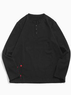 Camiseta Bordada Flor Superior De La Decoración Del Botón - Negro S