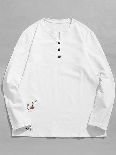 Camiseta Bordada Flor Superior De La Decoración Del Botón - Blanco Xl