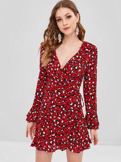 Ruffle Leopard Wrap Dress - Red M