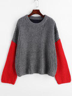Colour Block Tricolor Oversized Sweater - Gray