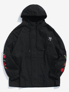 Zip Fly Rose Embroider Hooded Jacket - Black M