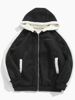 Embroidery Suede Fluffy Lined Jacket - Black L