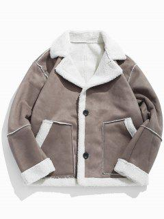 Suede Fluffy Lined Jacket - Khaki M
