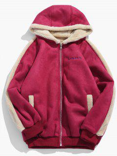 Embroidery Suede Fluffy Lined Jacket - Red Xl