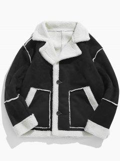 Suede Fluffy Lined Jacket - Black 2xl