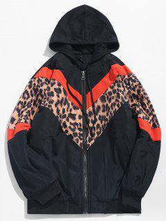 Stripe Leopard Patchwork Hooded Padded Jacket - Pumpkin Orange Xl
