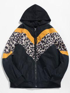 Stripe Leopard Patchwork Hooded Padded Jacket - Yellow L