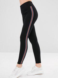 Stripe Trim Fleece Lined Thick Leggings - Black