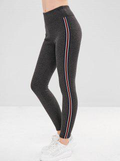 Stripe Trim Fleece Lined Thick Leggings - Carbon Gray