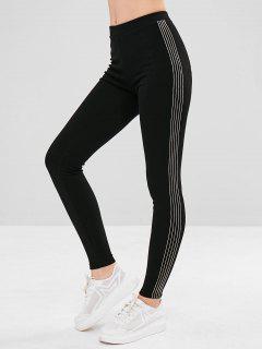 Stripe Trim Fleece Lined Elastic Leggings - Black